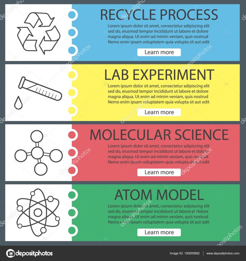 Conjunto de plantillas de banner de laboratorio de ciencia — Archivo ...
