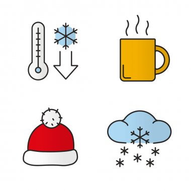 Winter season color icons set. Temperature falling, hot steaming tea or coffee mug, Santa Claus red hat, winter snowfall. Isolated vector illustrations clip art vector