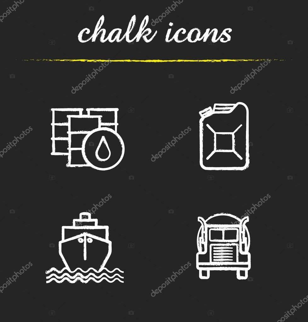 Oil transportation chalk icons set