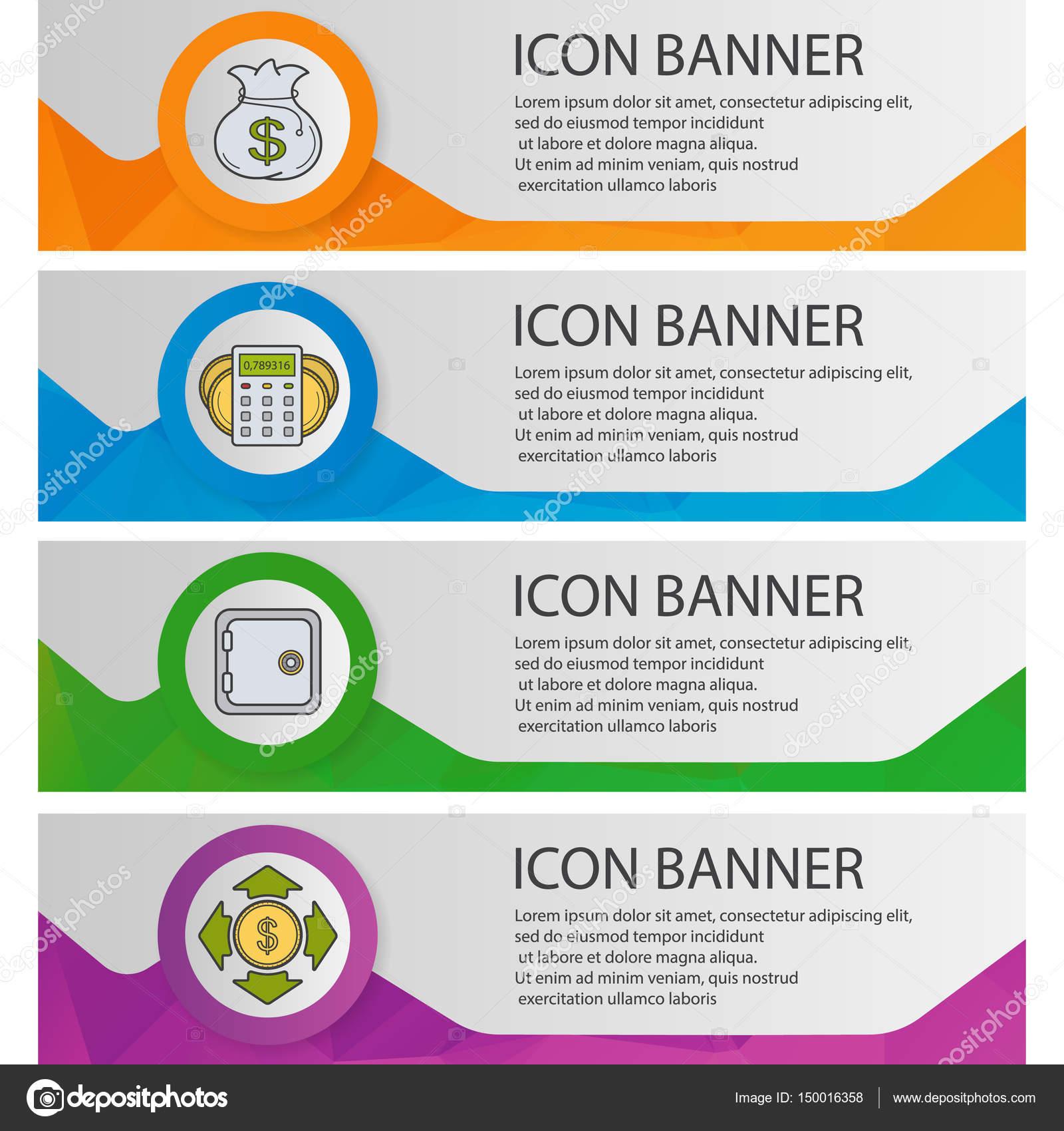 Banca y Finanzas conjunto de plantillas de banners — Archivo ...