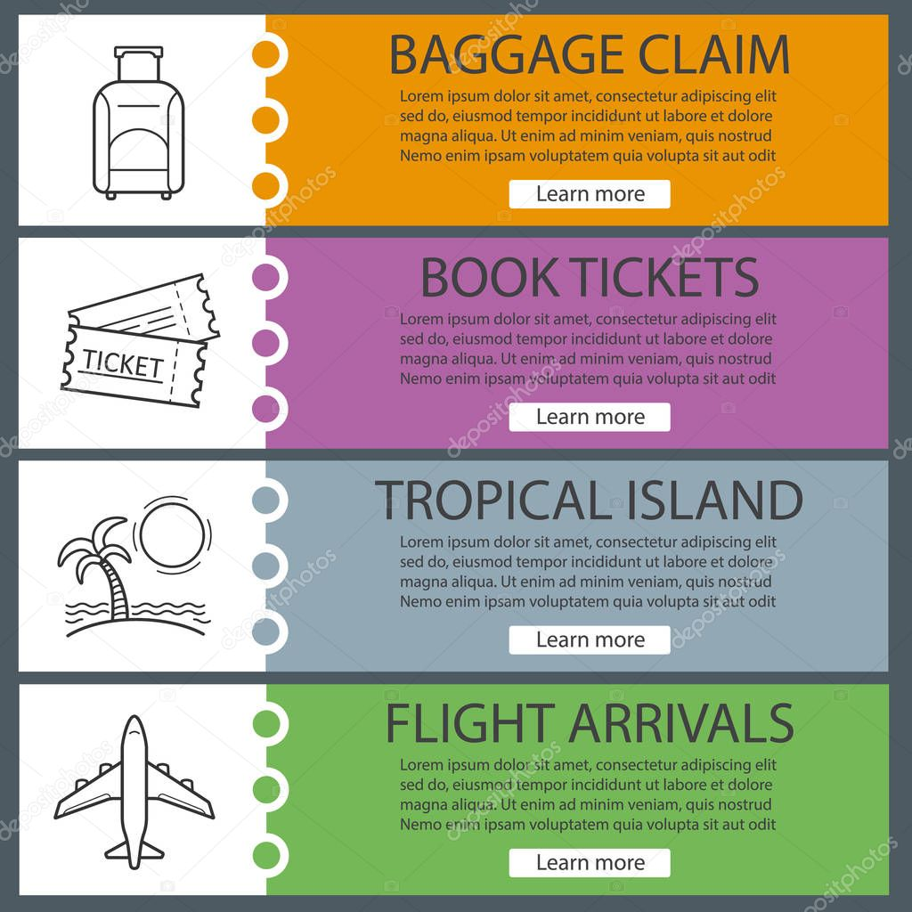 Vacation and travel banner templates set