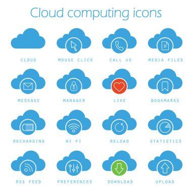 Cloud computing icons set