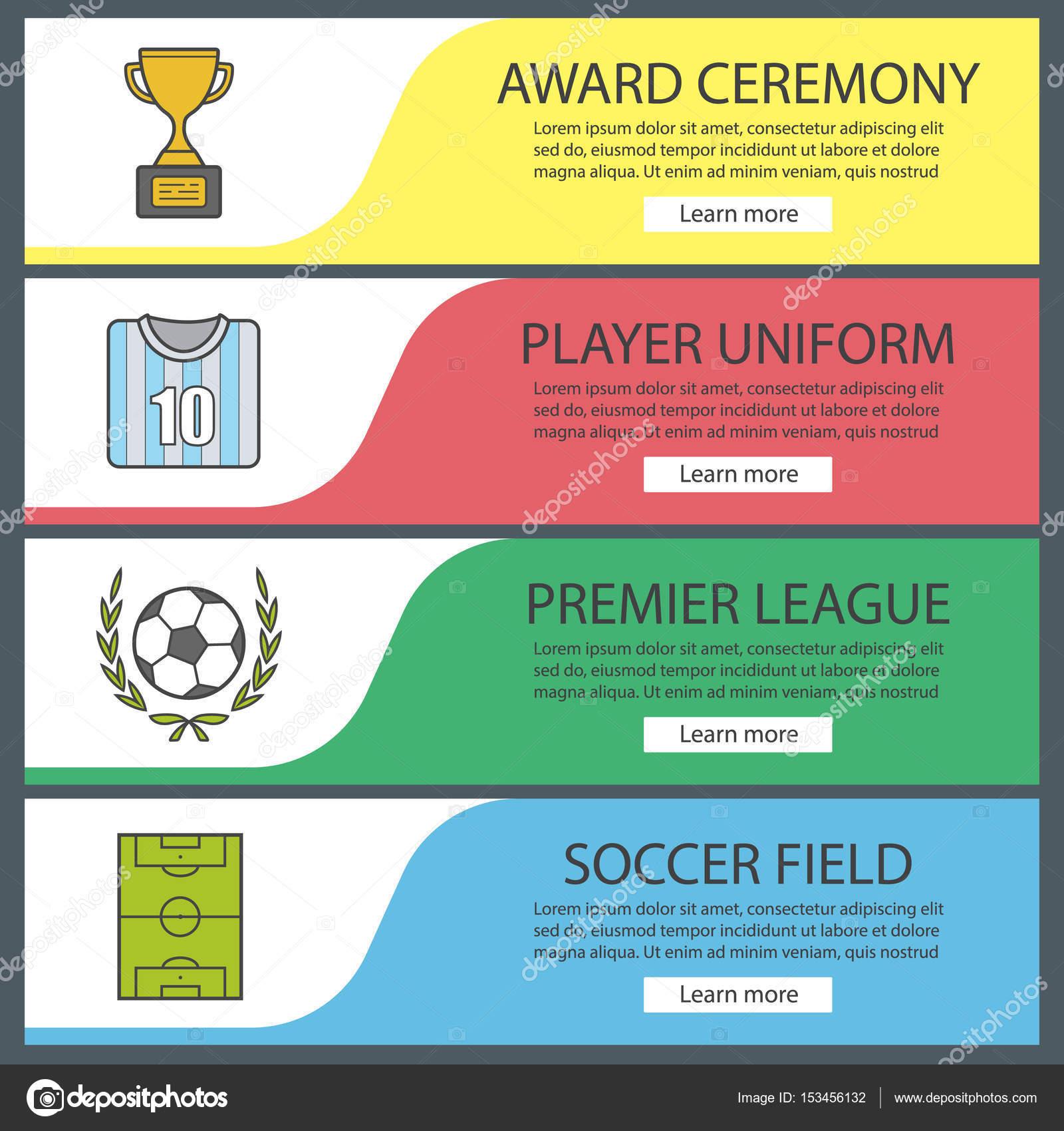 a0dfa9adc7 Conjunto de modelos de banner de futebol — Vetor de Stock © bsd ...