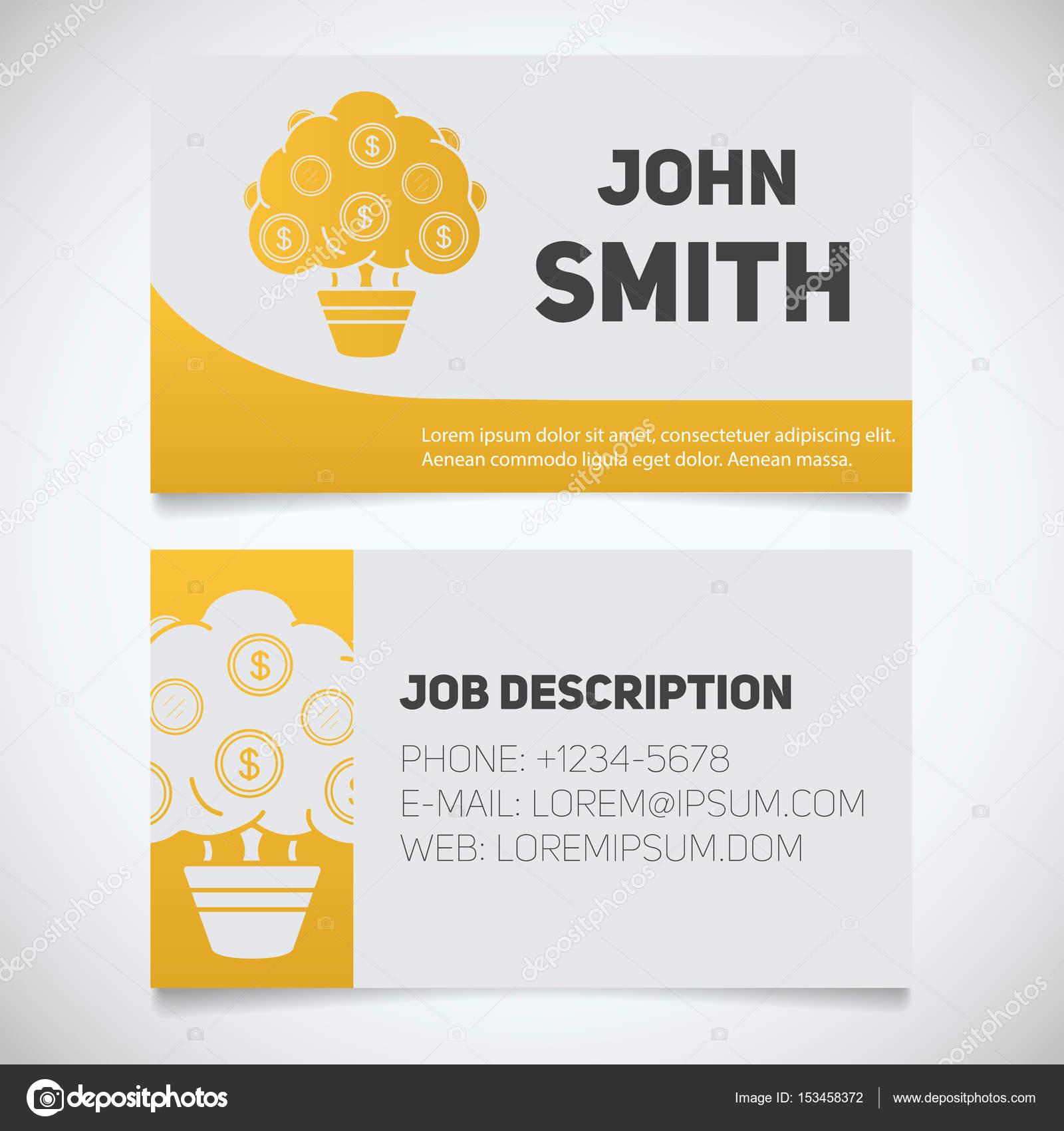 Carte De Visite Imprimer Des Modles Avec Les Logos Darbre Dargent Homme Daffaires Investisseur Financier Concepts Design Papeterie