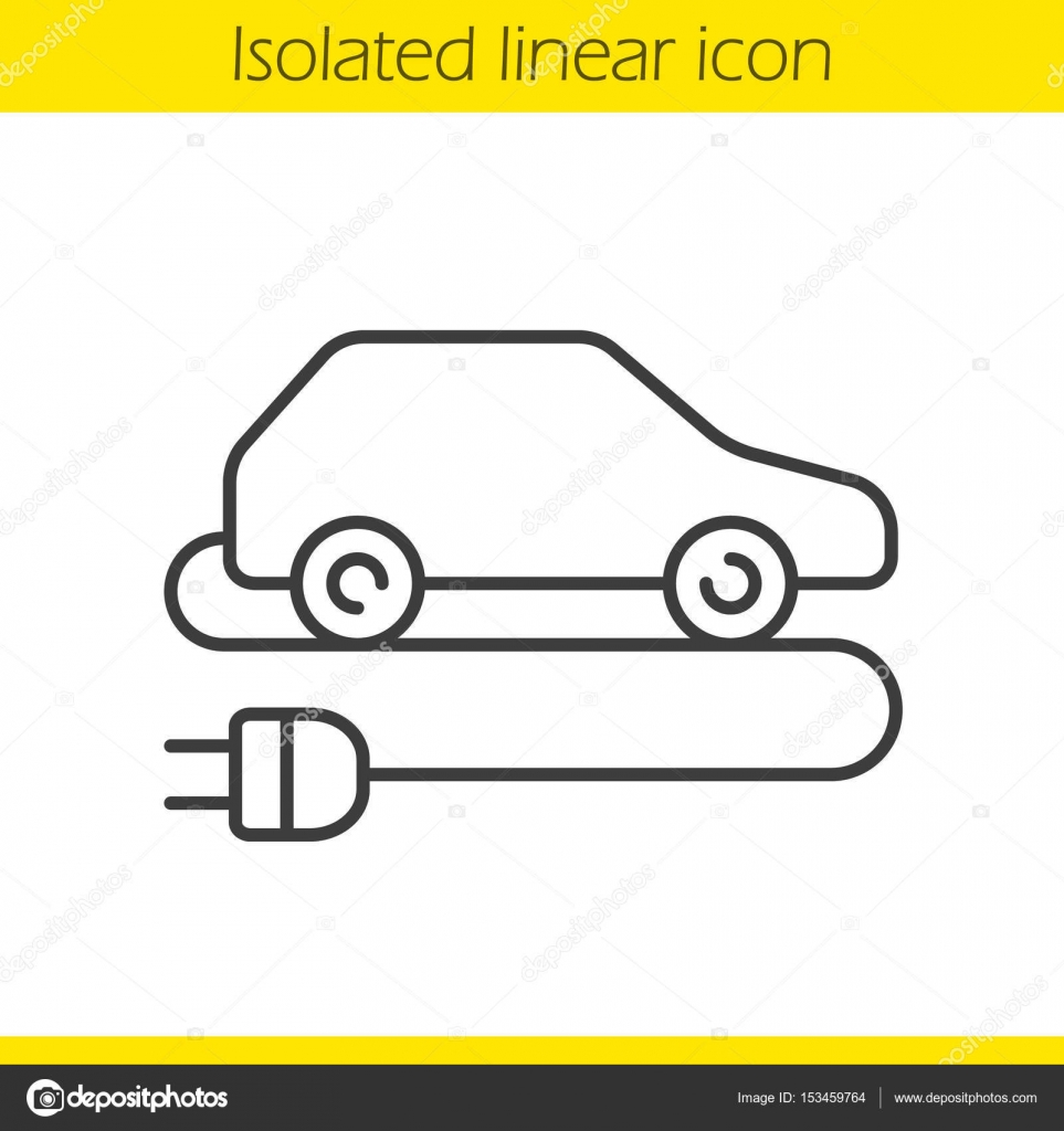 Lineare elektrische Auto-Symbol — Stockvektor © bsd #153459764