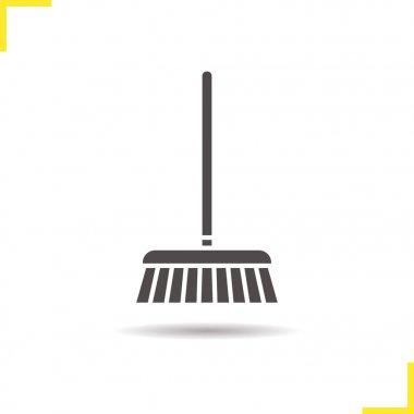 Mop icon. Drop shadow silhouette symbol.