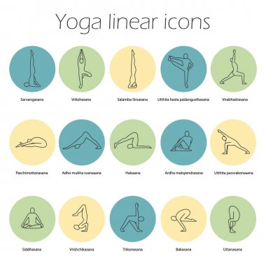 Yoga poses linear icons set