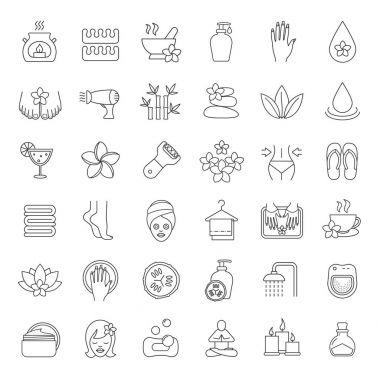Spa salon linear icons set