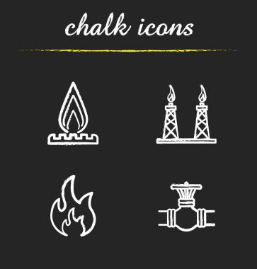 Gas industry chalk icons set
