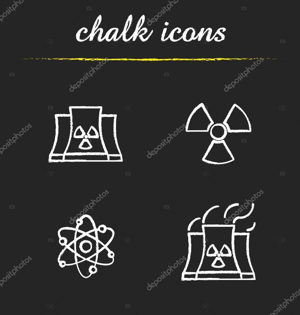 Atomic energy chalk icons set