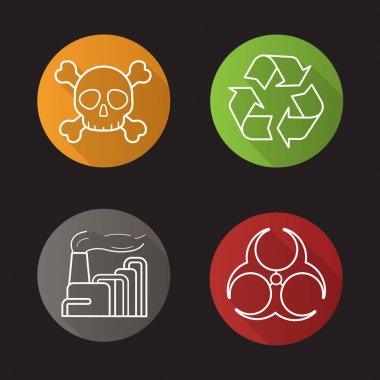 Industrial pollution flat icons set