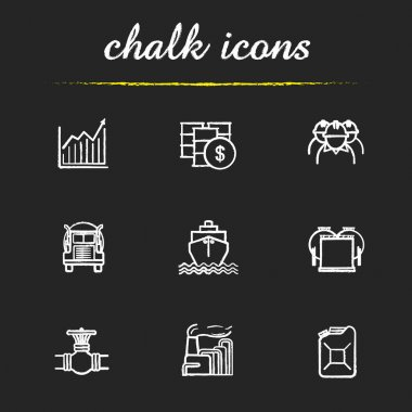 Oil and petroleum industry chalk icons set