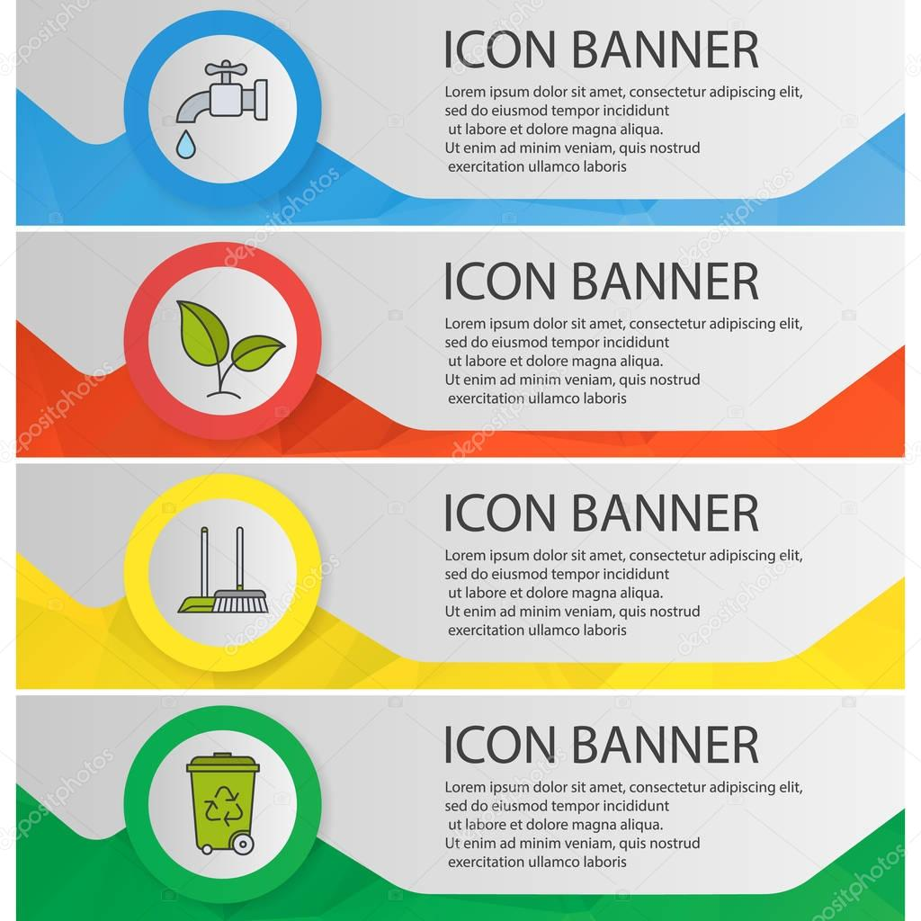 Environment protection banner templates set