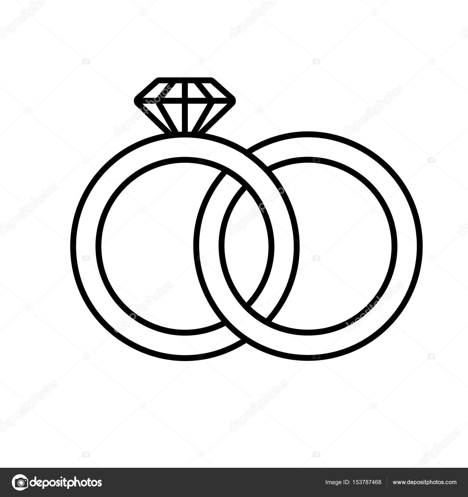 Wedding Rings Linear Icon Stock Vector C Bsd 153787468