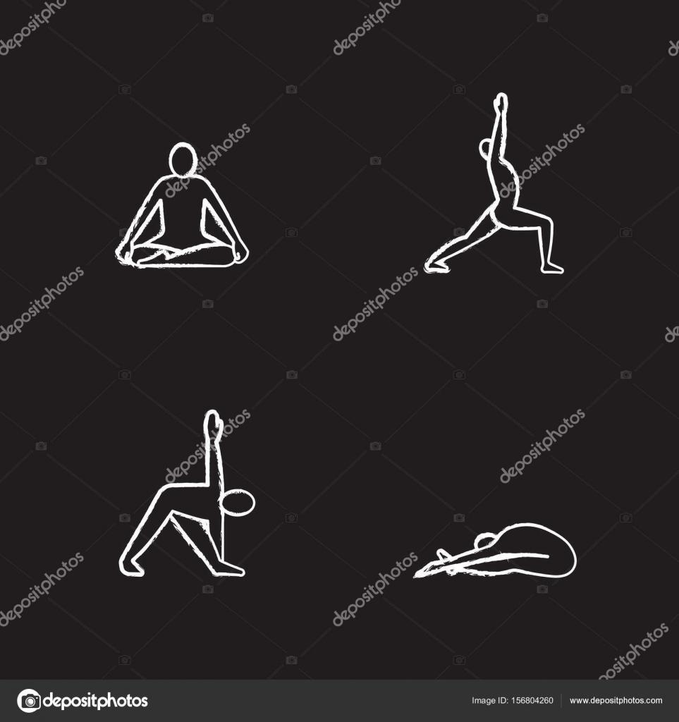 Conjunto de iconos de asanas de yoga — Archivo Imágenes Vectoriales ... e7fcf6ee7487