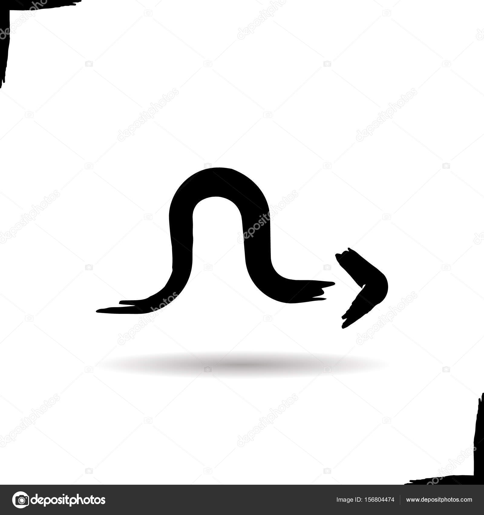 Curved Arrow Right Icon Stock Vector