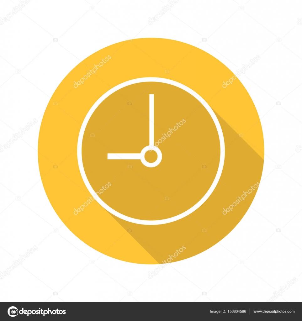 079f229dc932 Icono de plano lineal larga sombra del reloj. Tiempo. Vector símbolo de  línea — Vector de ...