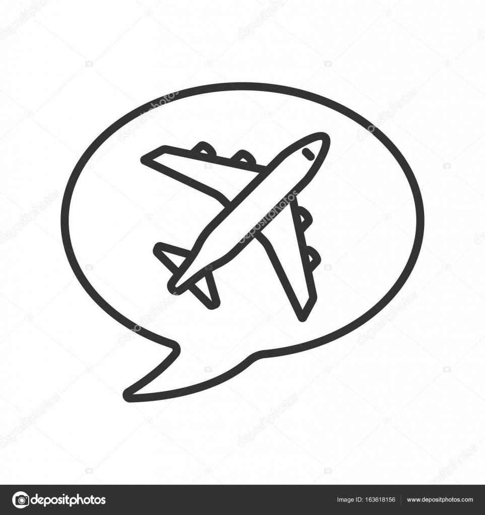 Chat Box With Airplane Takeoff Inside Linear Icon Flight Departure Thin Line Illustration Contour Symbol Vector Isolated Outline Drawing By Bsd