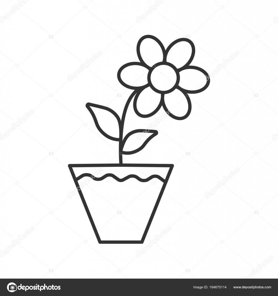 çiğdem çiçek Saksı Simgesi Stok Vektör Bsd 164675114