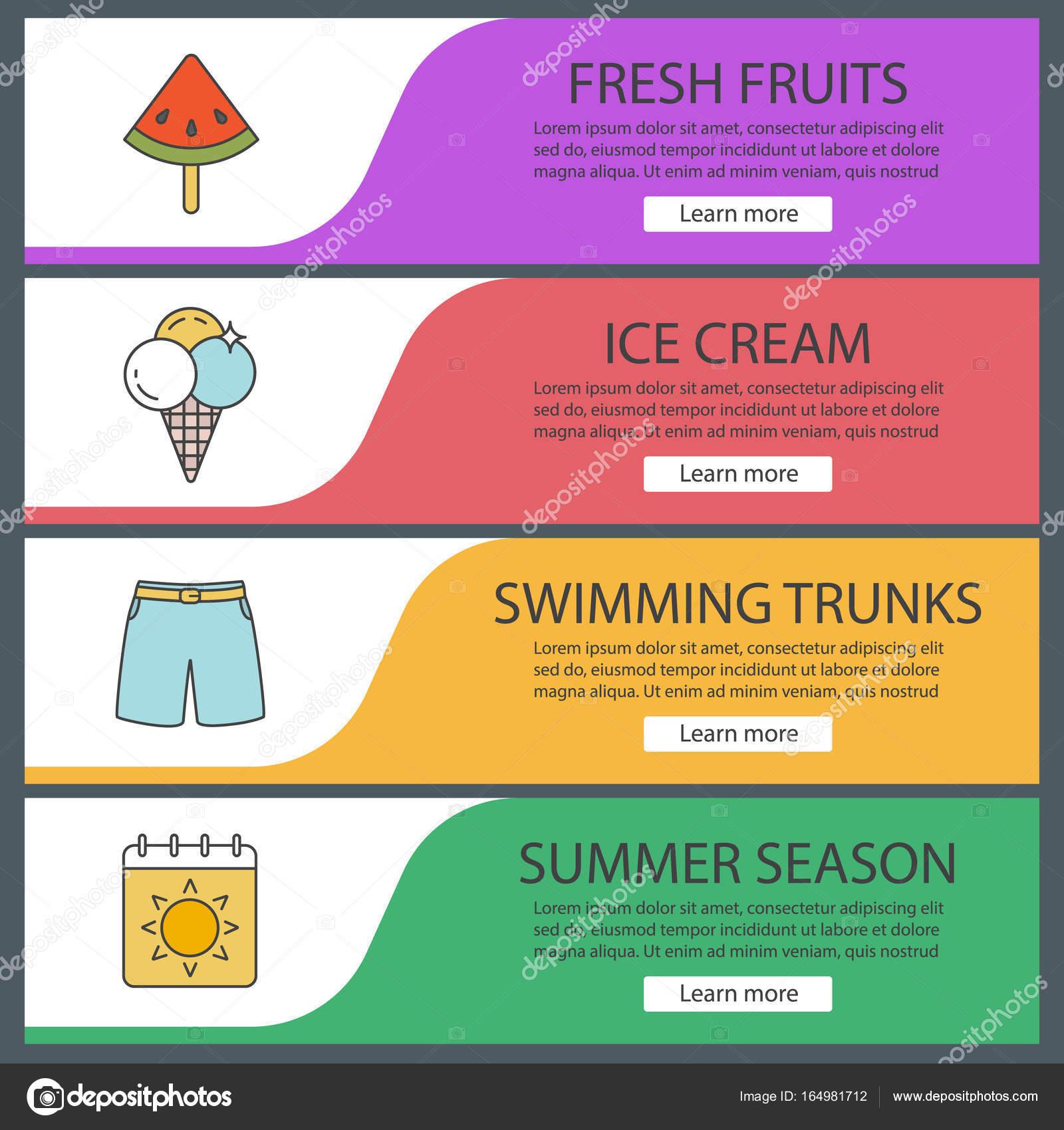 Set de plantillas de banners de web de verano — Archivo Imágenes ...