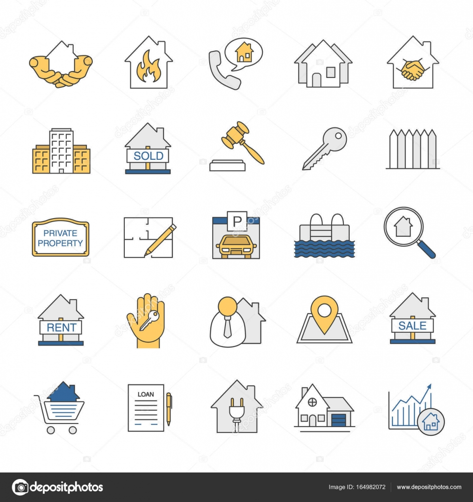 Real estate market icons set stock vector bsd 164982072 real estate market color icons set property development building business home house blueprint buy rent and sell signs isolated vector illustrations malvernweather Gallery