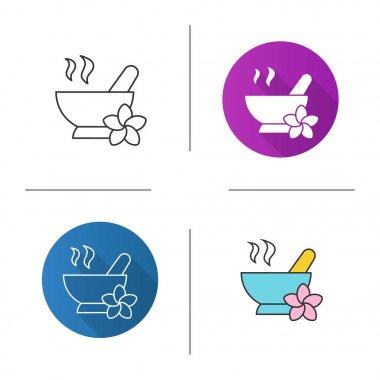 Spa salon mortar and pestle icon