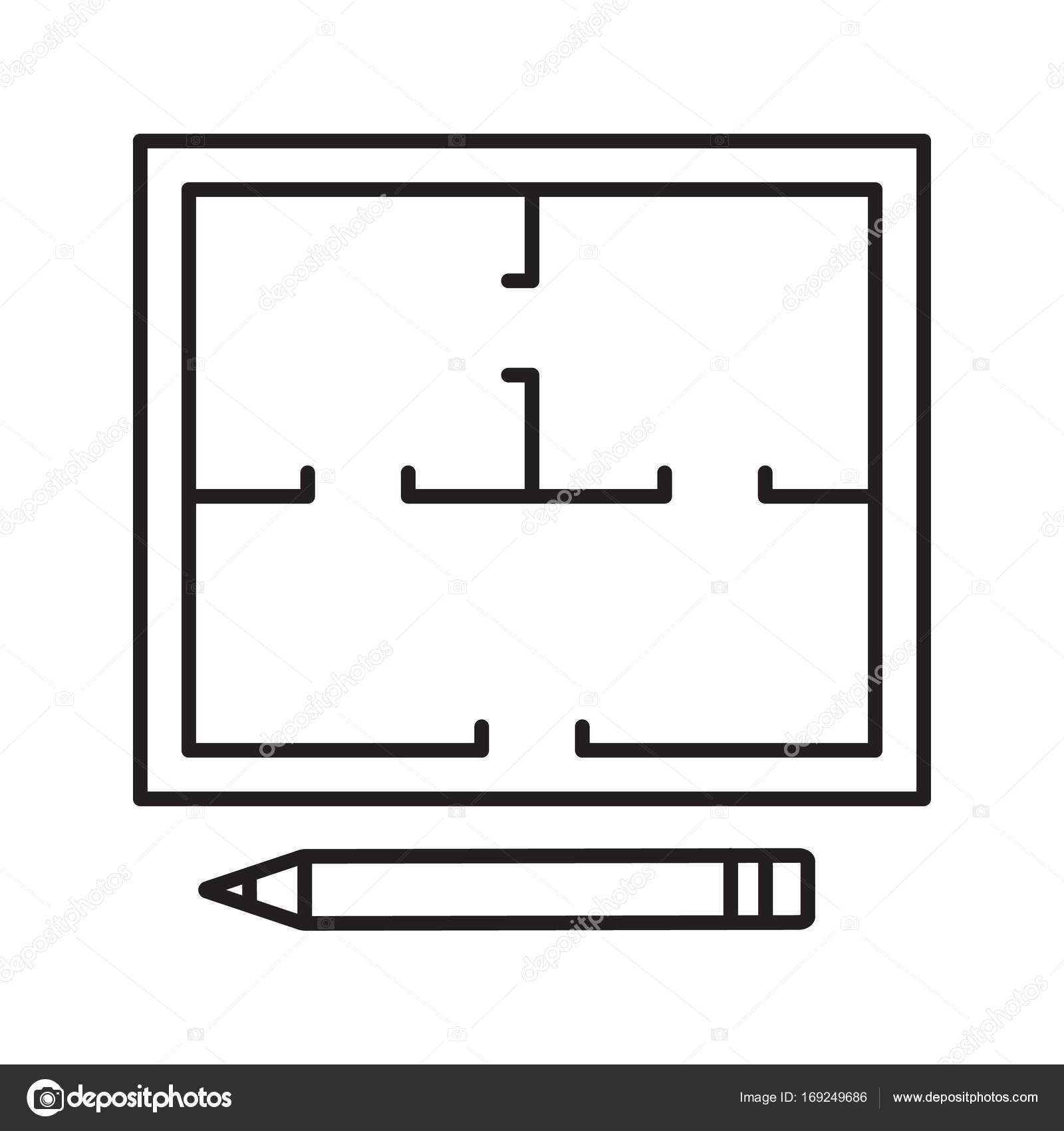 grundriss linear symbol stockvektor bsd 169249686. Black Bedroom Furniture Sets. Home Design Ideas