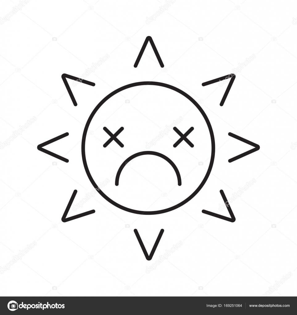 Dessin Representant La Mort icône représentant linéaire sourire soleil mort — image vectorielle