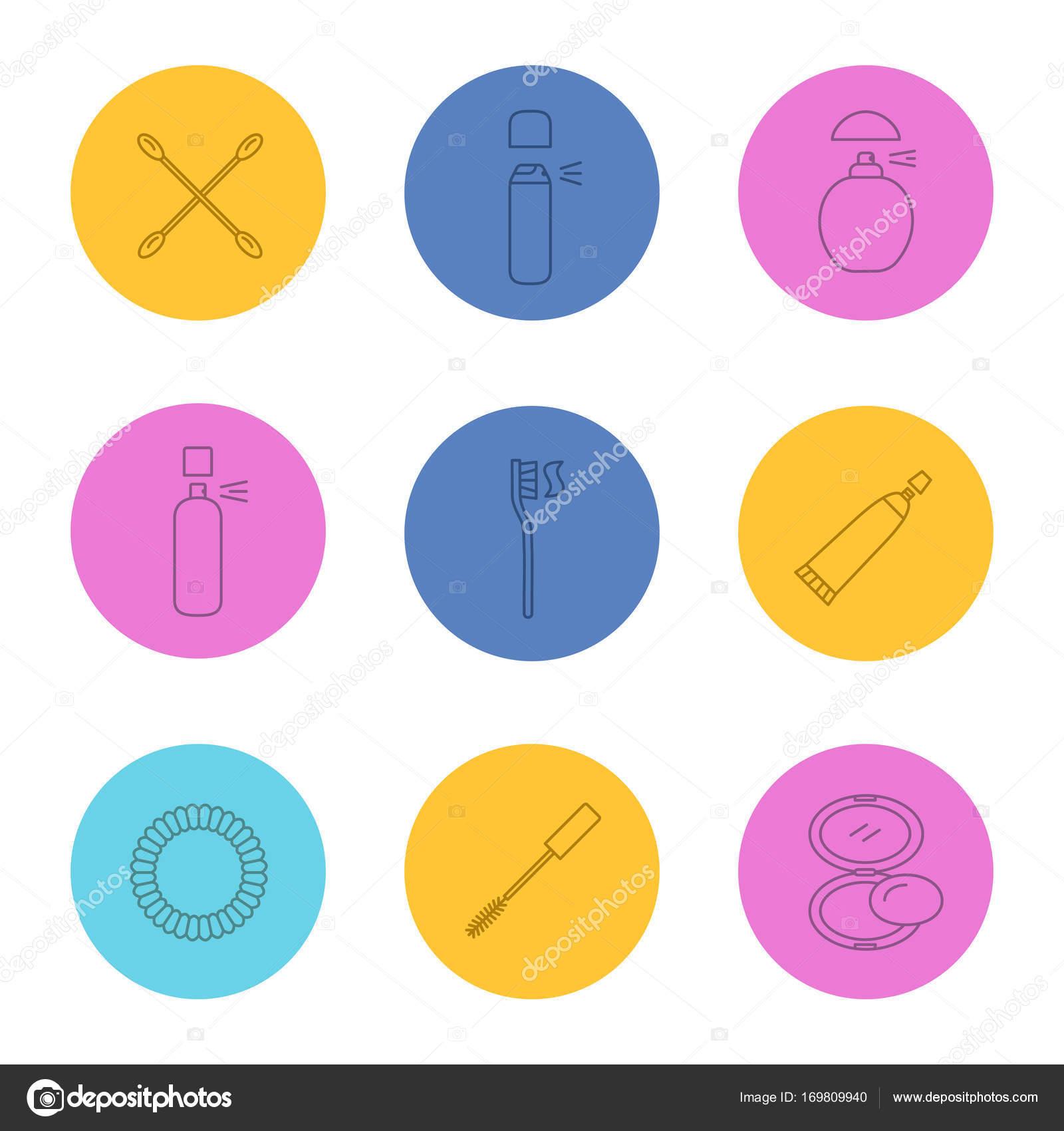 371b41b95750 Набор иконок Аксессуары для косметики — Векторное изображение © bsd ...