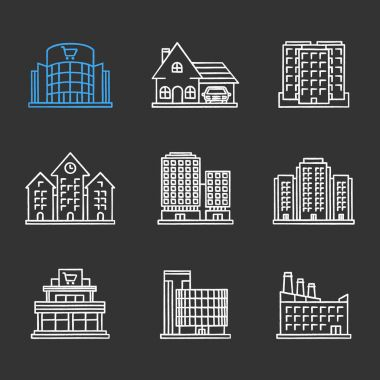 City buildings chalk icons set. Shopping malls, business centers, cottage, town hall, industrial factory, multi-storey buildings. Isolated vector chalkboard illustrations stock vector