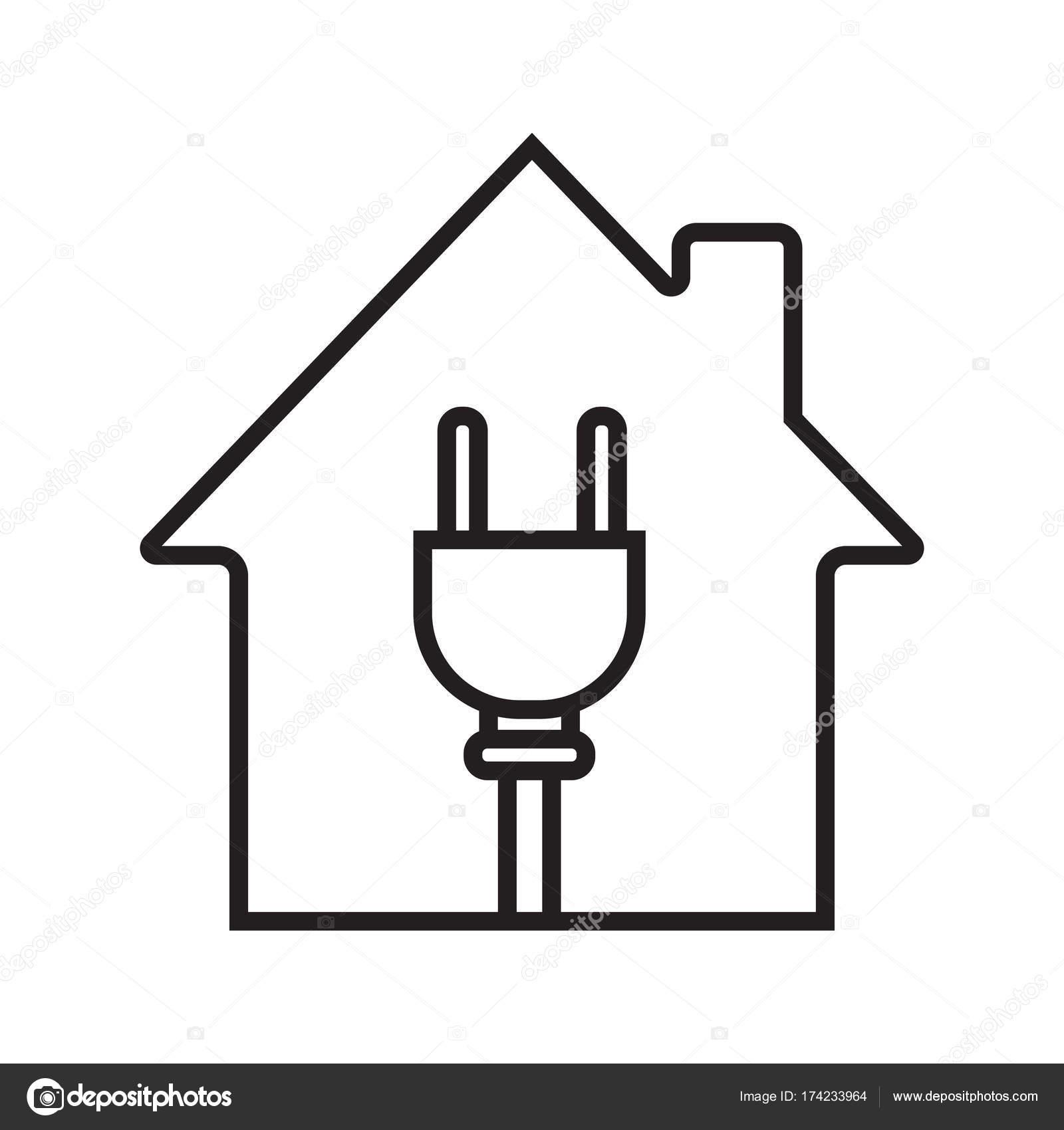 Haus mit Draht Stecker Symbol — Stockvektor © bsd #174233964