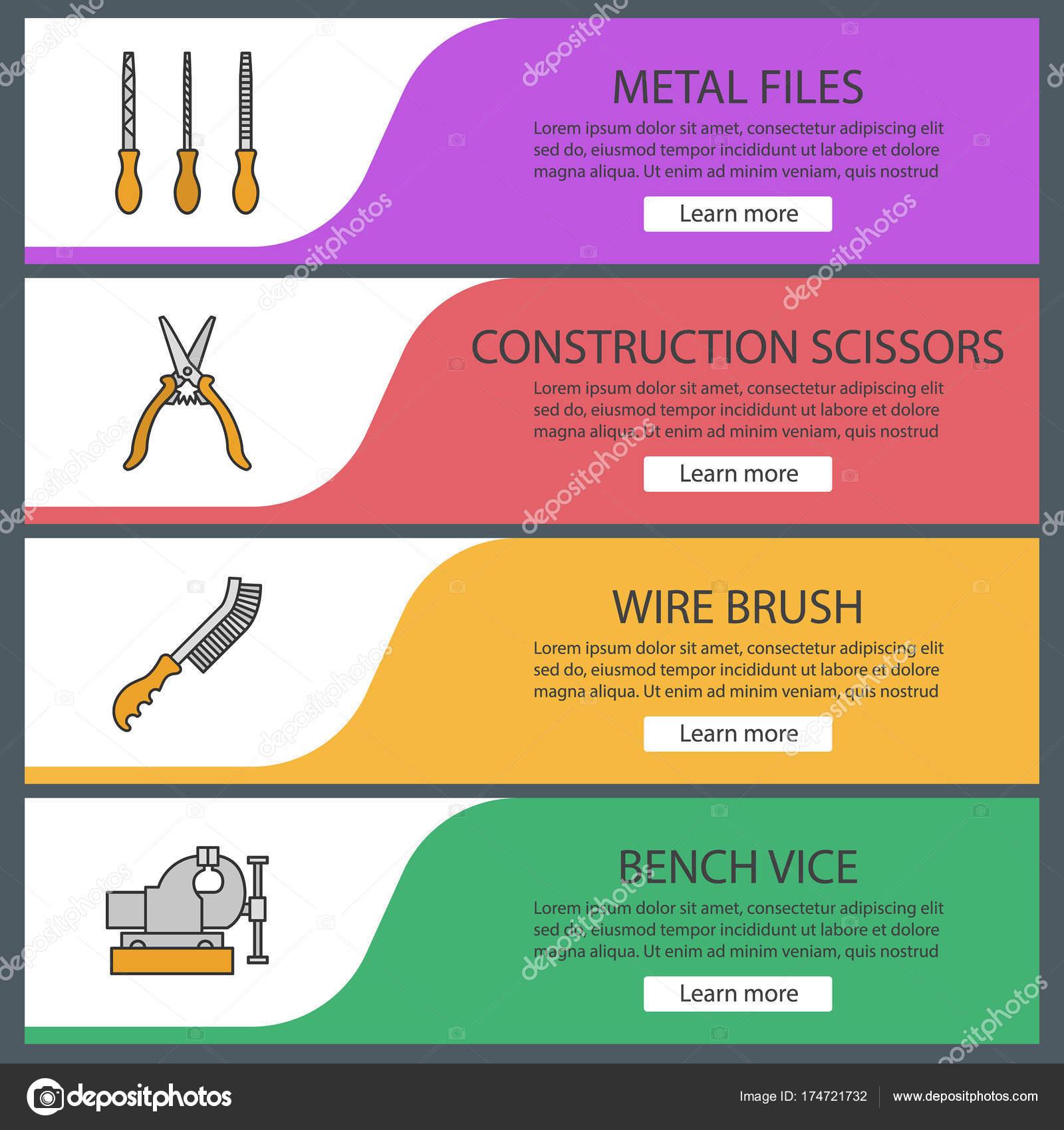 Bau-Tools web-Banner-Vorlagen-set — Stockvektor © bsd #174721732
