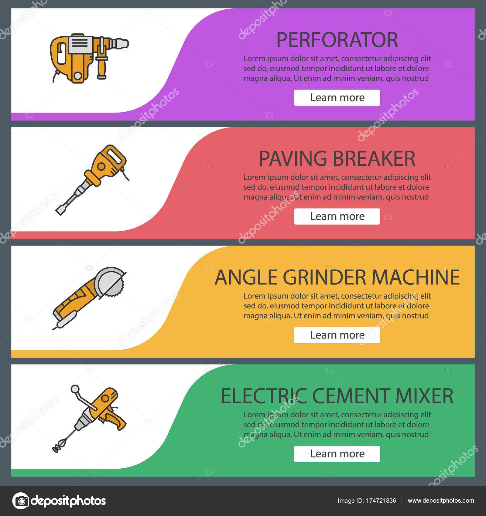 Bau-Tools web-Banner-Vorlagen-set — Stockvektor © bsd #174721836