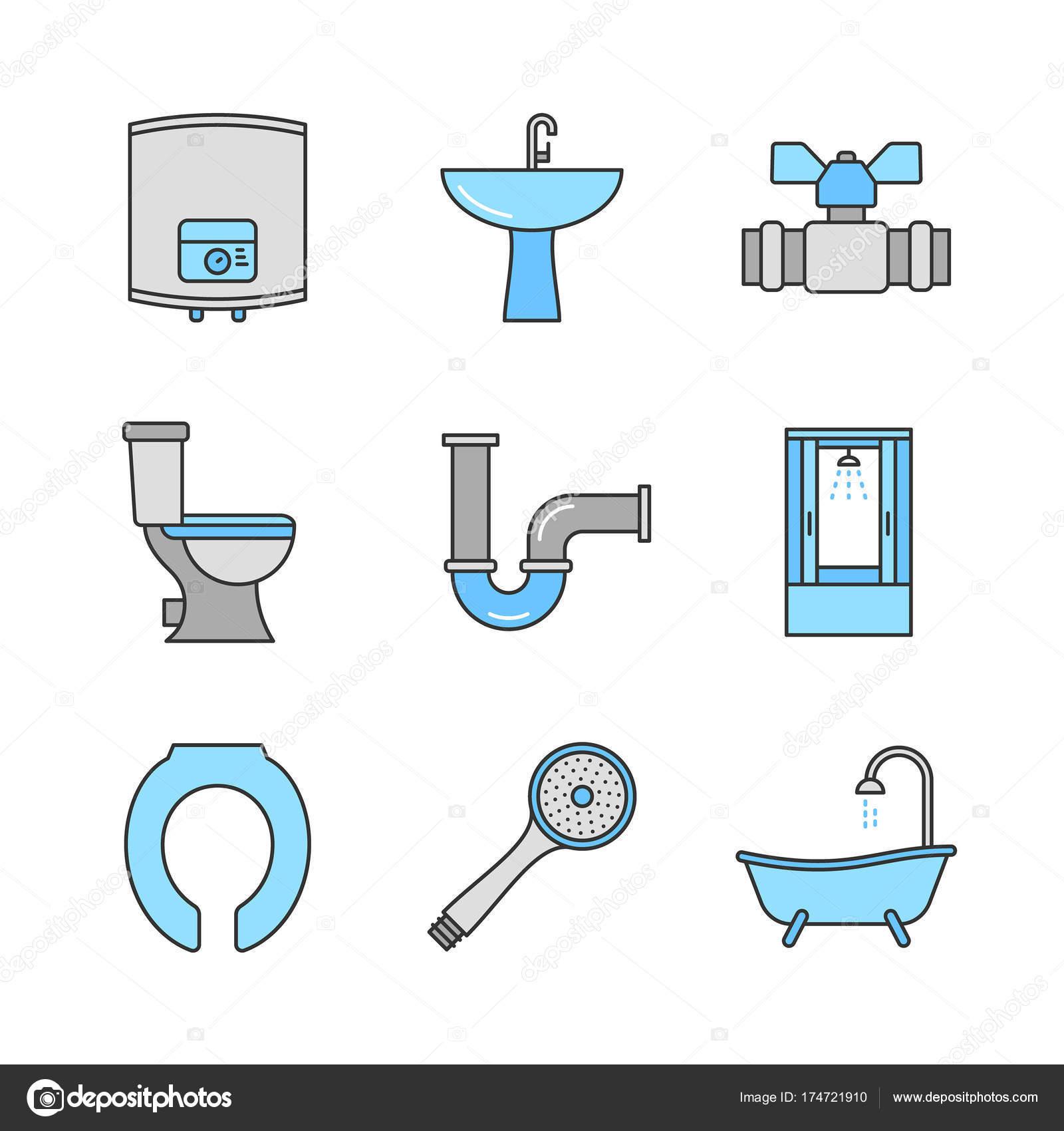 Waschbecken clipart  Sanitär Symbole Satz — Stockvektor © bsd #174721910