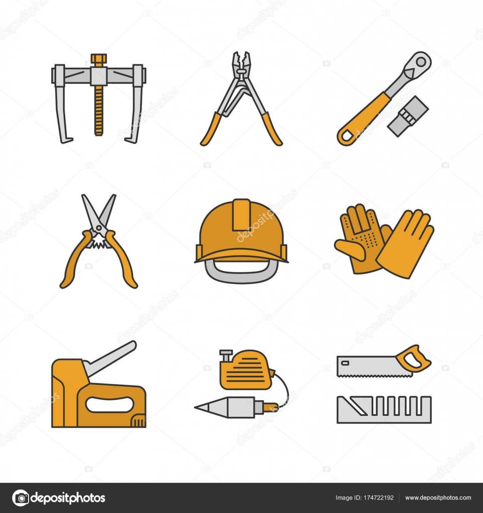Herramientas de construcción de color los iconos conjunto — Vector ...