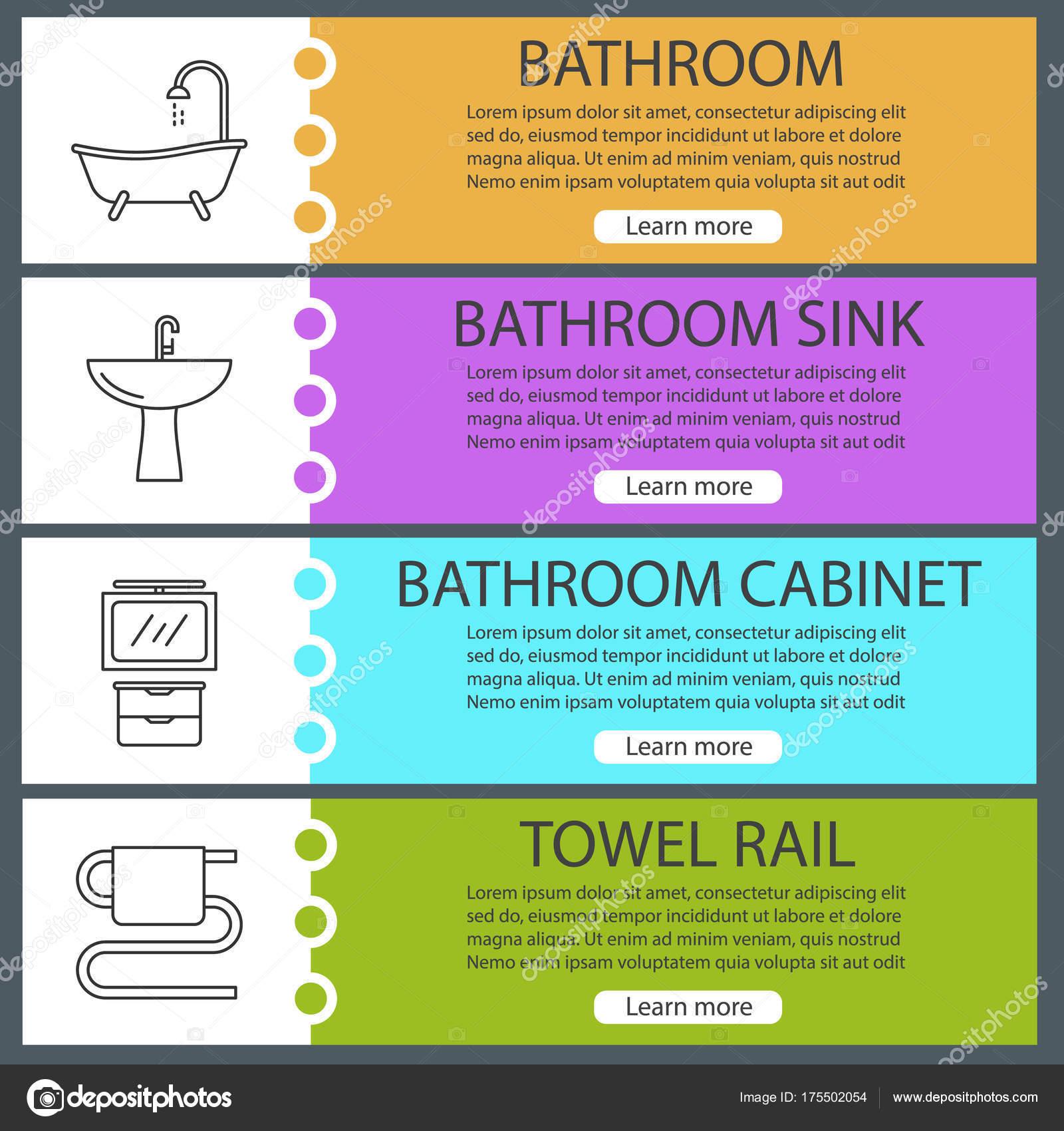 Plumbing Web Banner Templates Set Bathtub Towel Rail Bathroom ...