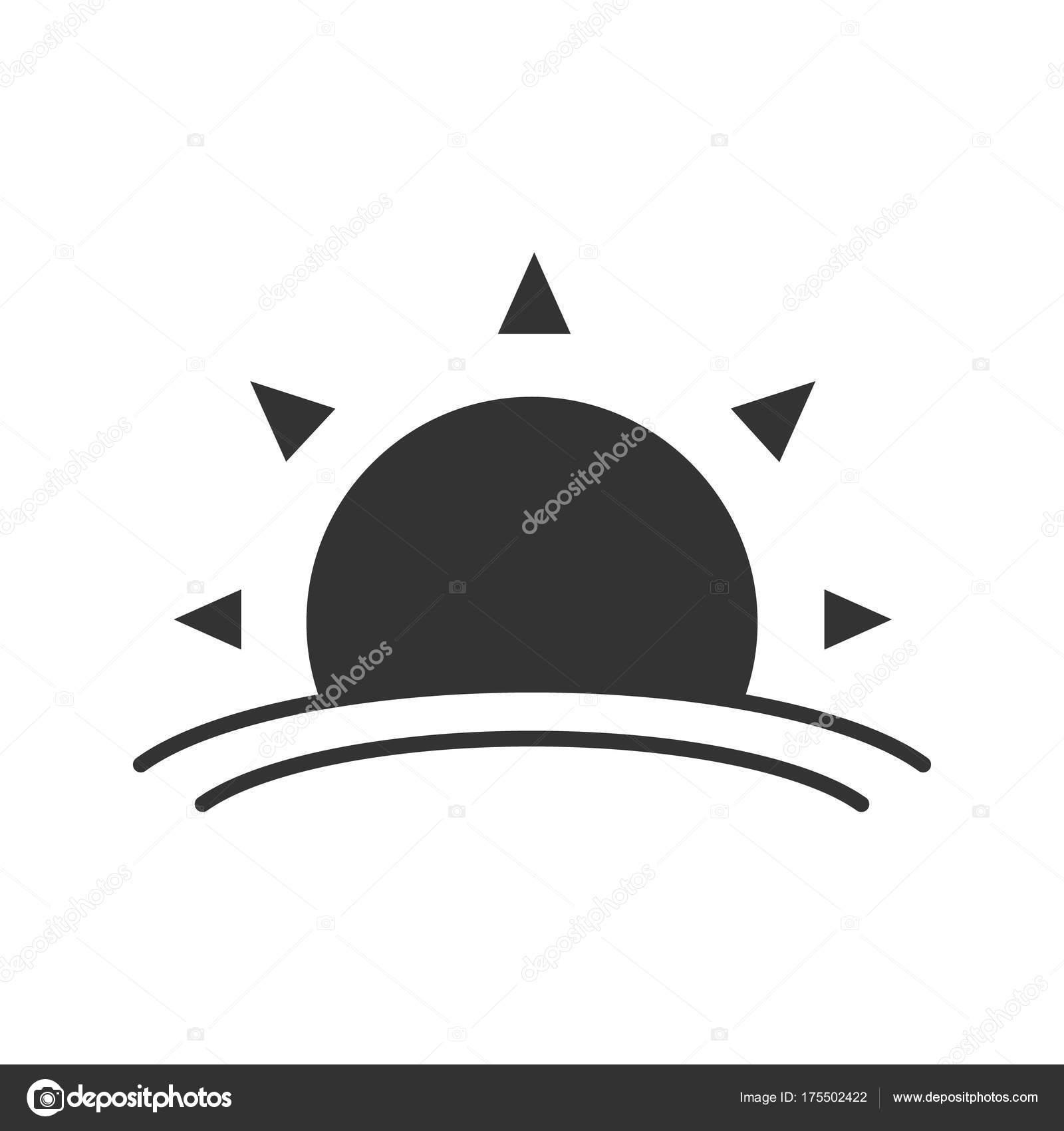 Rising Sun Glyph Icon Silhouette Symbol Dawn Negative Space Vector