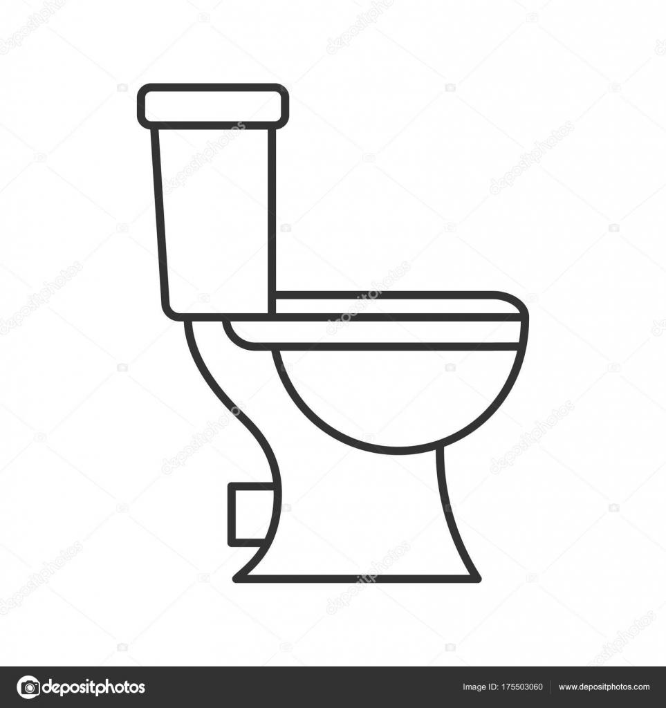 toilet pan lineaire pictogram illustratie dunne lijn