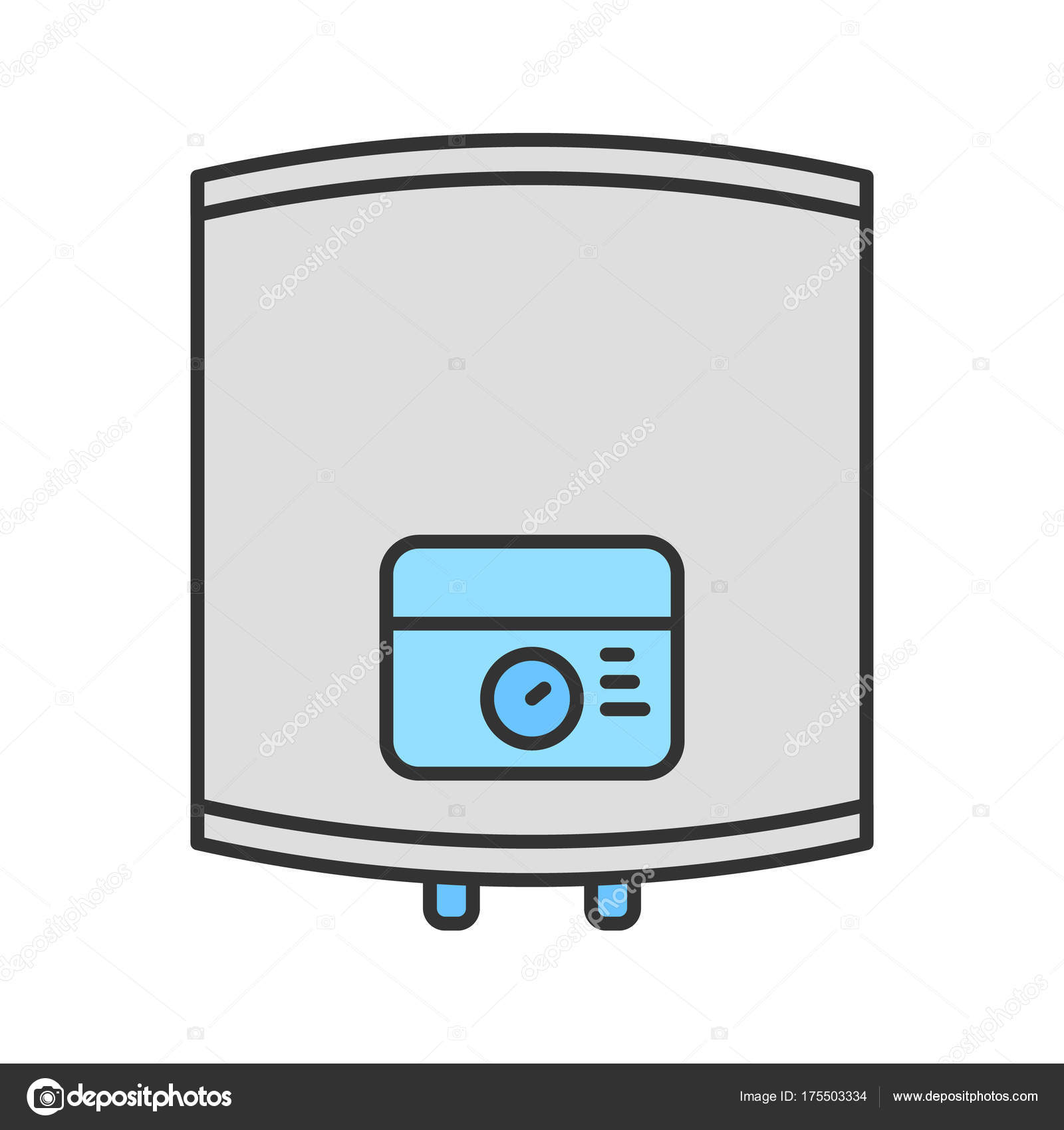 Home Boiler Color Icon Isolated Vector Illustration — Stock Vector ...