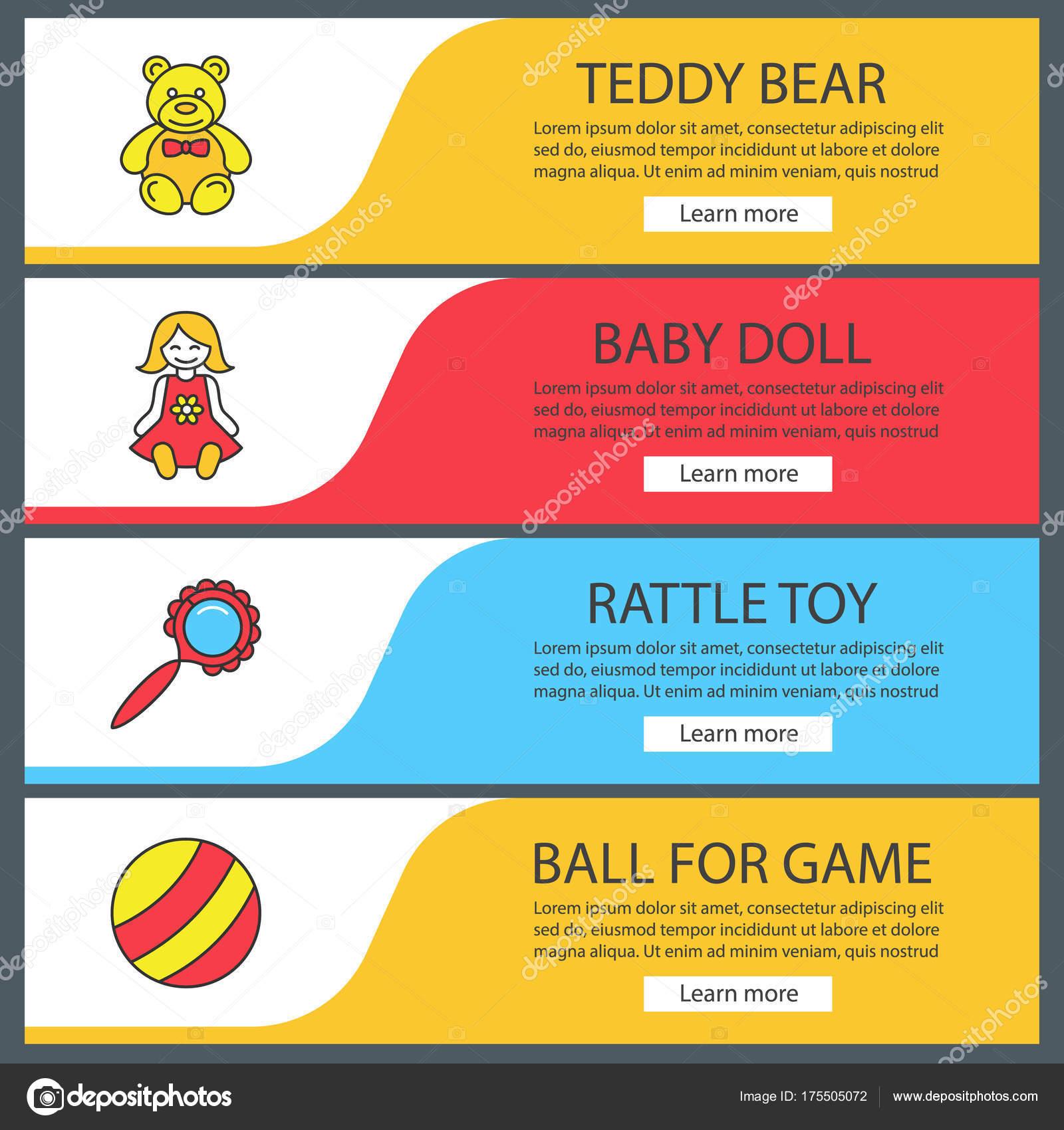 Kinder Spielzeug Web Banner Vorlagen Set Teddy Bär Babypuppe Rassel ...