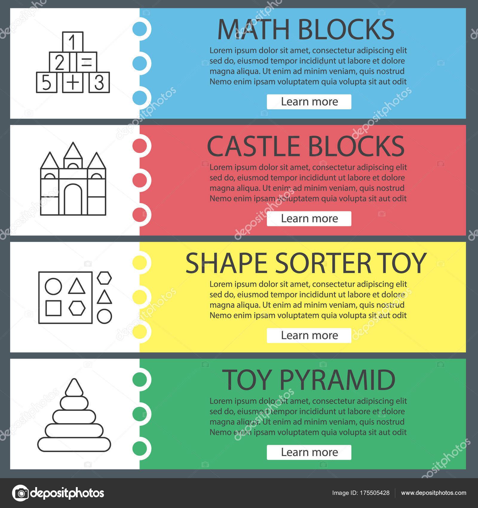Kinder Spielzeug Web Banner Vorlagen Set Mathematik Und Schloss ...