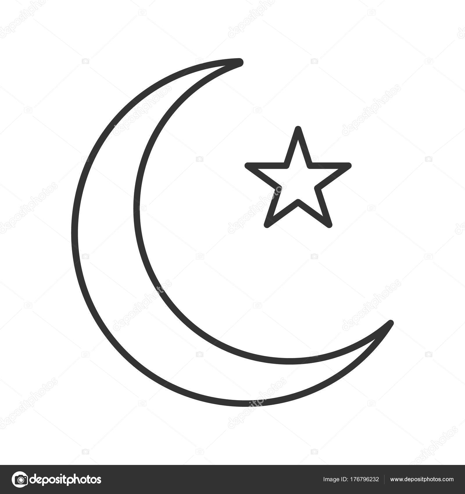 Star Crescent Moon Linear Icon Ottoman Flag Thin Line Illustration And