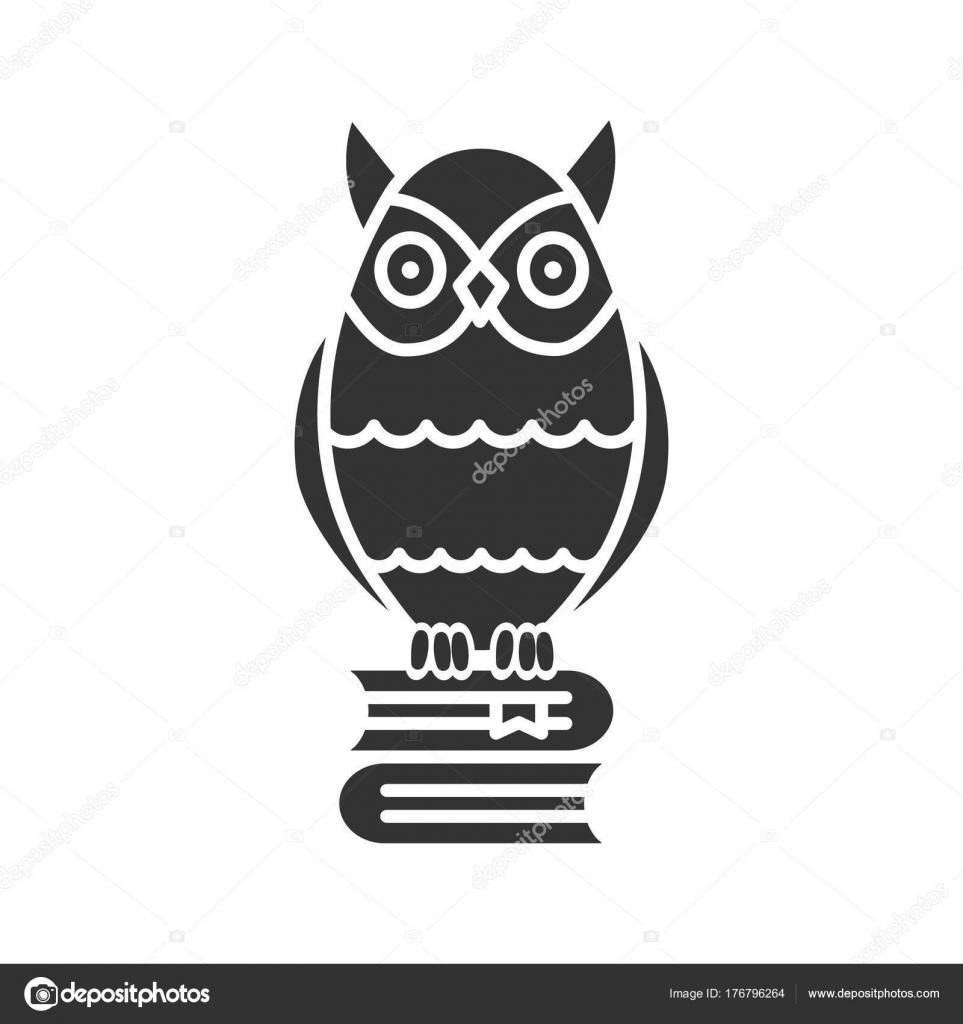 Owl Books Stack Glyph Icon Silhouette Symbol Emblem Wisdom Knowledge