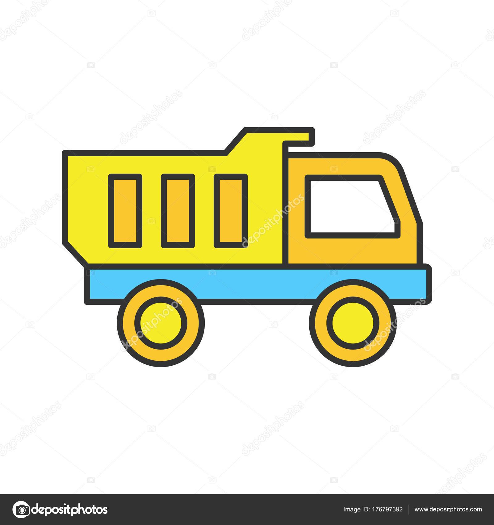 Icono Color Carro Juguete Ilustracion Vector Aislado Vector De