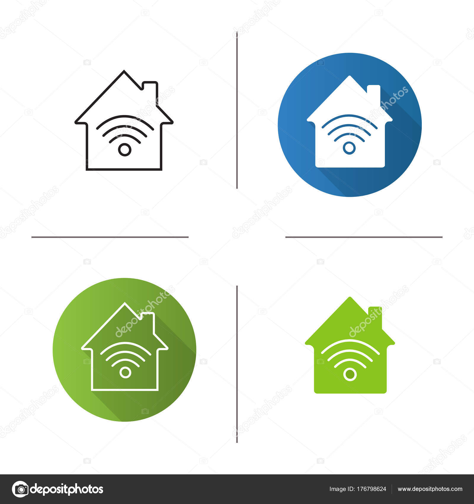 Home Internet Connection Icon Flat Design Linear Glyph Color Styles U2014 Stock  Vector