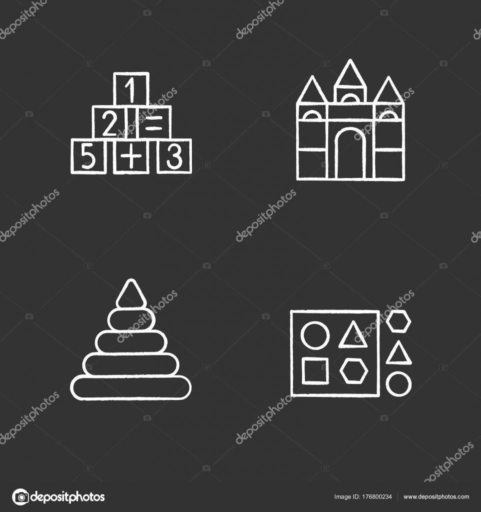 Kids Toys Chalk Icons Set Educational Games Math Castle Building ...