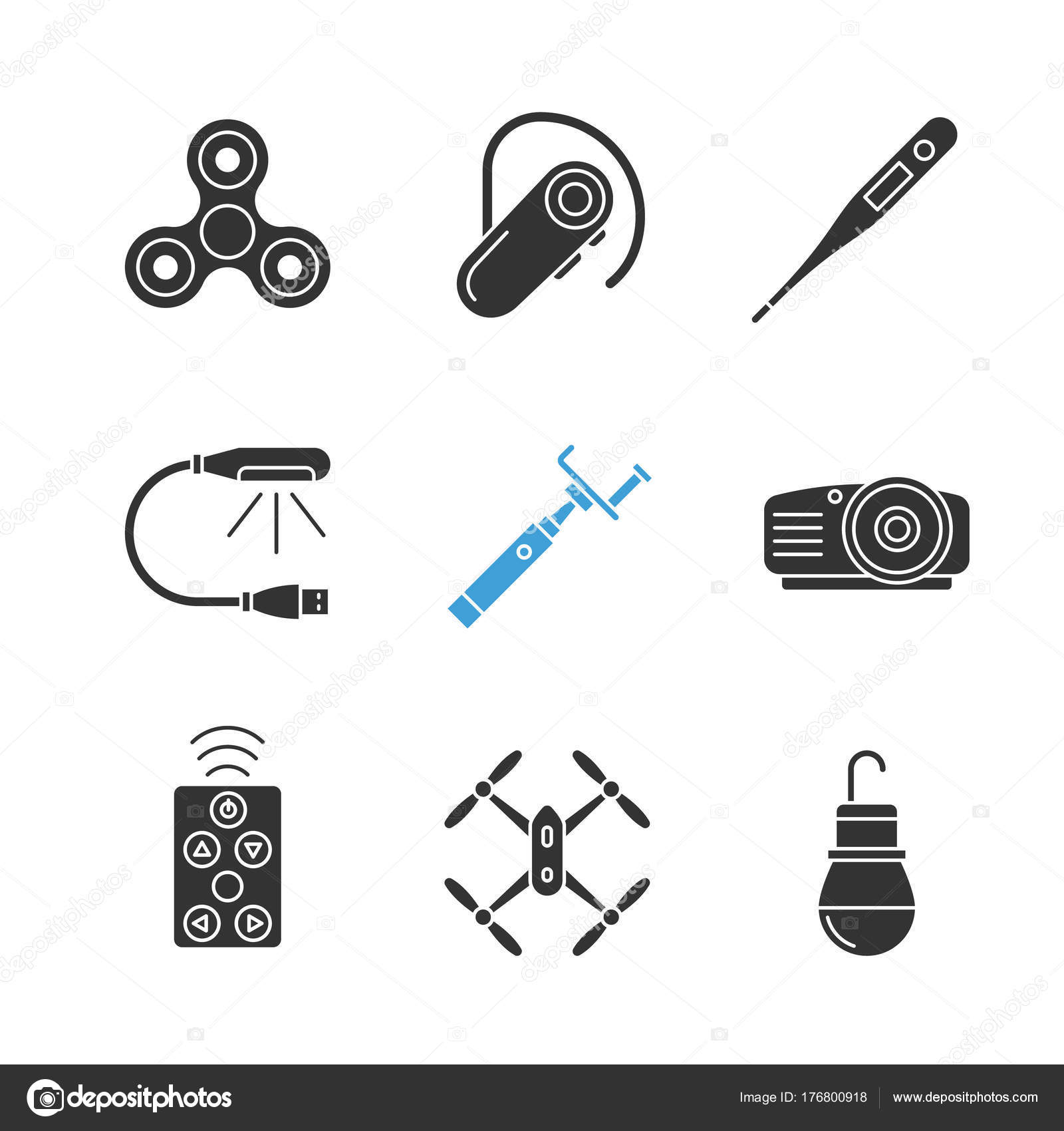 Gadgets Glyph Icons Set Silhouette Symbols Spinner Electronic