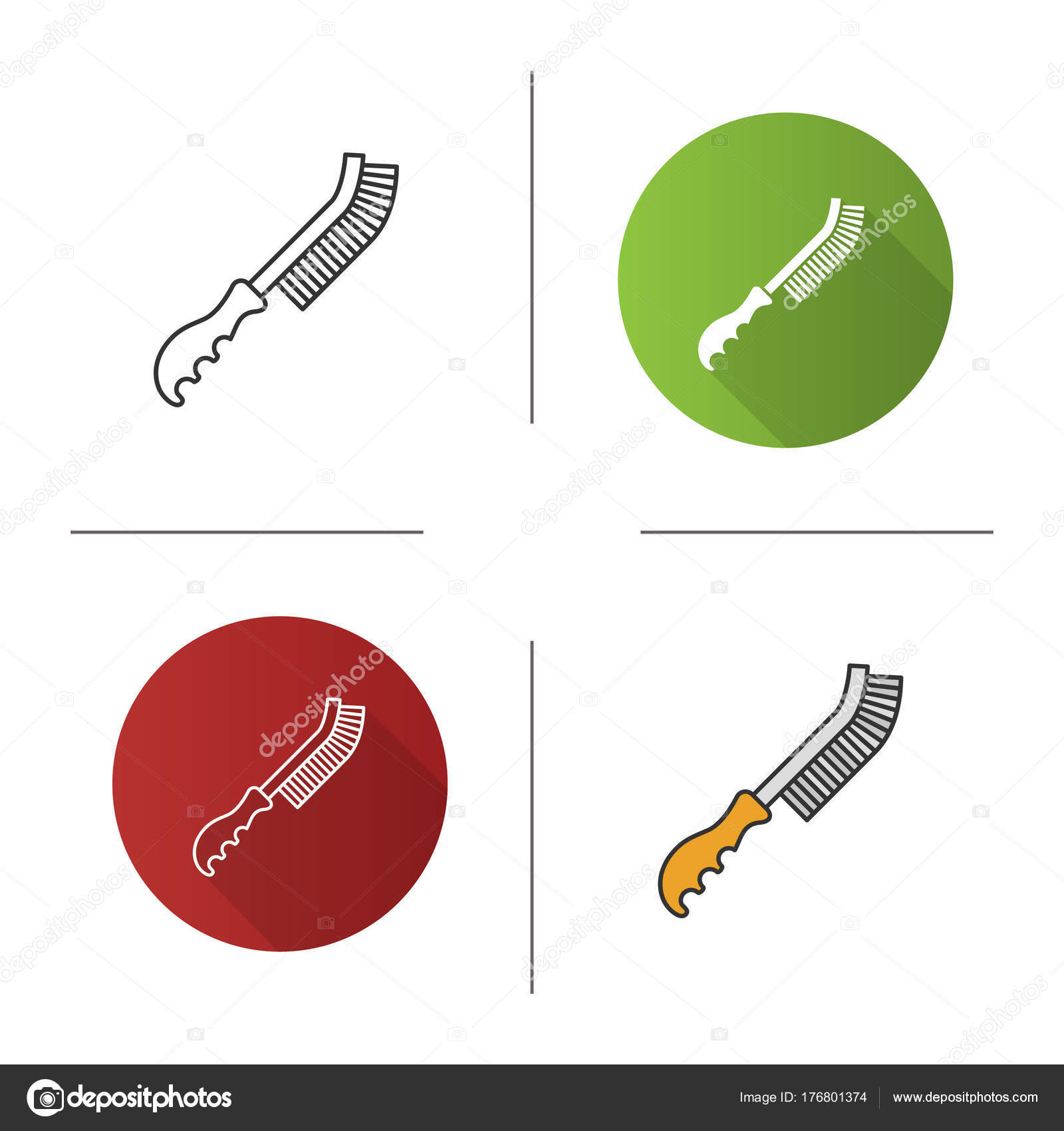 Draht Pinsel Symbol Flache Bauweise Lineare Und Farbe Stile ...