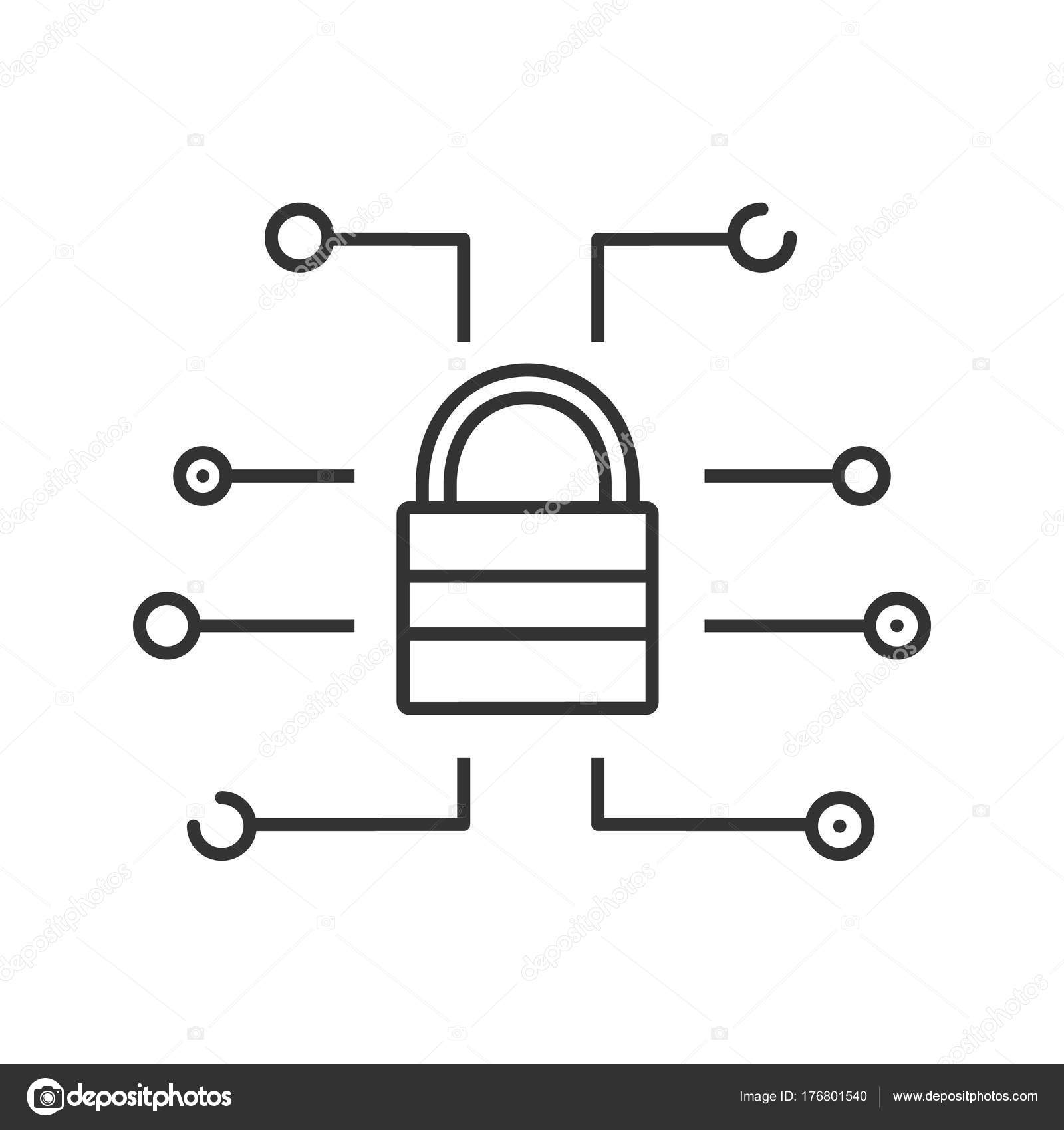 Cyber Security Linear Symbol Dünne Linie Abbildung Passwort ...