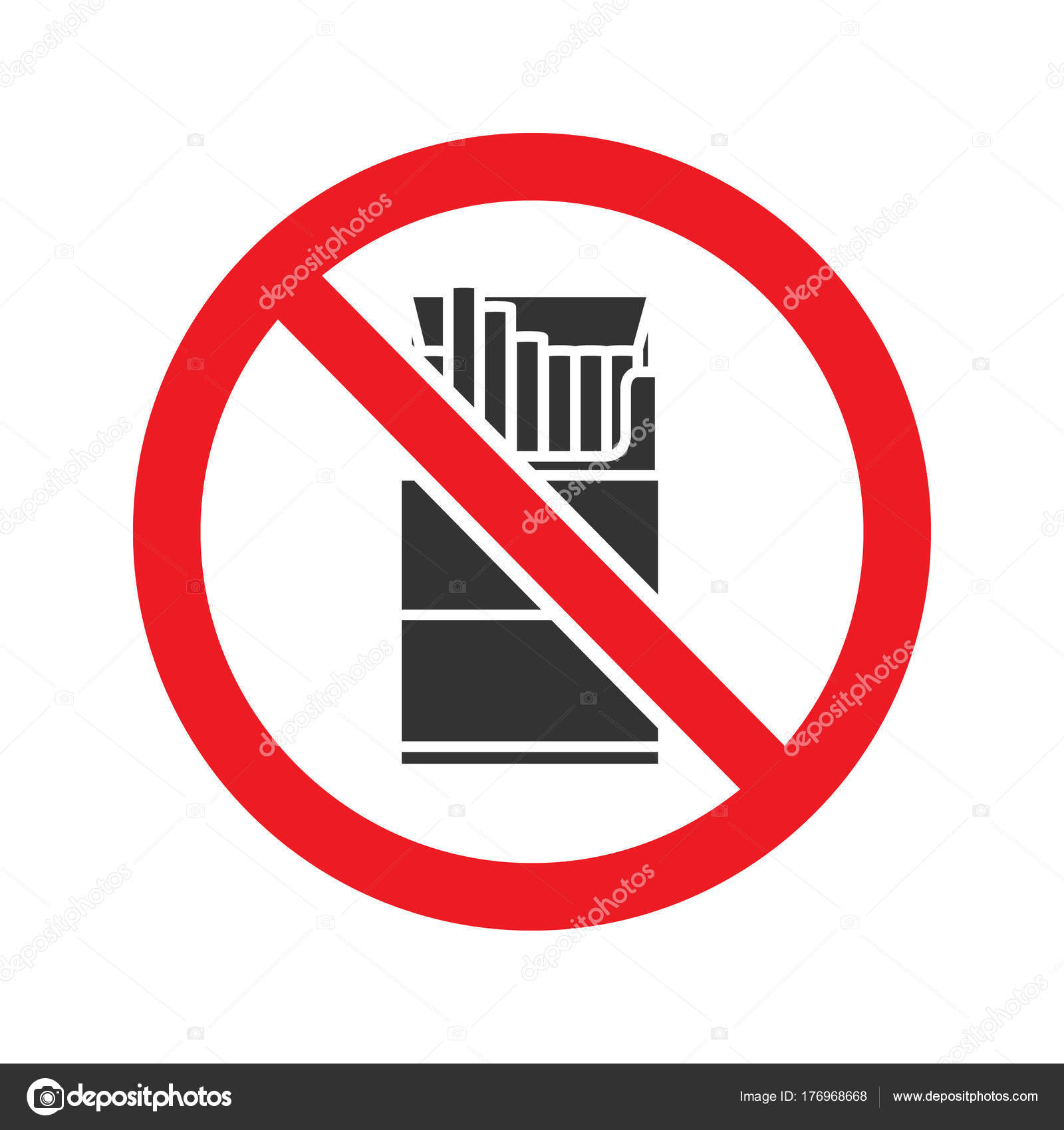 Forbidden Sign Pack Cigarettes Glyph Icon Stop Silhouette Symbol